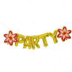 Balon folie PARTY cu model de floare pentru petreceri, auriu