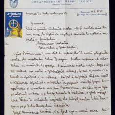 SCRISOARE ADRESATA PRINTESEI MARTHA BIBESCU , EXPEDIATA DE PROFESORUL CONSTANTIN NEDELCU DE LA ' CERCETASII ROMANIEI ' DATATA 22 X 1935
