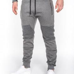 Pantaloni pentru barbati de trening gri inchis fermoare decorative banda jos cu siret bumbac p469