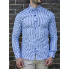 Camasa alb bleu - camasa slim fit camasa barbat LICHIDARE STOC cod 197