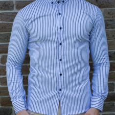 Camasa slim dungi bleu - camasa tunica camasa barbat camasa slim #197, L, S, XL, XXL, Maneca lunga, Din imagine
