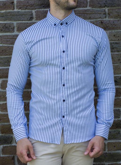 Camasa alb bleu - camasa slim fit camasa barbat camasa in dungi cod 197