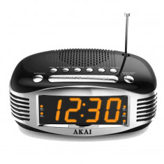 Radio cu ceas retro Akai CE-1500, AM/FM, Ecran LED, Sleep Timer, Negru