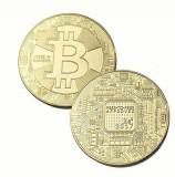 Monedă Bitcoin 2017, poleită cu aur, Europa, Tombac