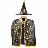 Cumpara ieftin Costum vrajitor pentru copii, palarie si pelerina cu stelute aurii