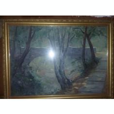 Tablou vechi pictat semnat cu rama protejat de geam,tablou pictat carton,T.GRAT