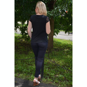 Bluza eleganta masura mare, dantela neagra cu insertie de tul