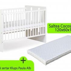 Patut fara sertar KLUPS Paula Alb + Saltea 10 MyKids