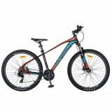Bicicleta MTB-HT CARPAT C2759H, roti 27inch, cadru aluminiu 18inch, frane hidraulice disc SHIMANO, 24 viteze (Negru/Rosu)