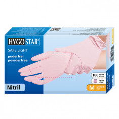 Cumpara ieftin Manusi nitril Safe Light marimea M, roz, 100 bucati/cutie, nepudrate