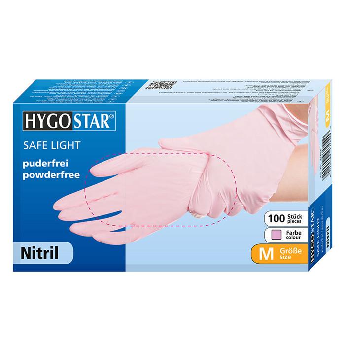 Manusi nitril Safe Light marimea M, roz, 100 bucati/cutie, nepudrate