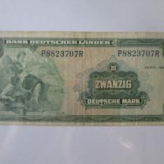 Rară! Germania Federala 20 Deutsche Mark/Mărci 1949,Bank Deutscher Lander