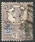 MAREA BRITANIE / ANGLIA --1887 --PERFIN MG & Co--PERFORAT, Stampilat