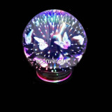 Veioza Rotunda cu Efect 3D Fluturi Alimentare USB