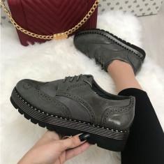 Pantofi dama gri cu platforma oxford marime  39+CADOU