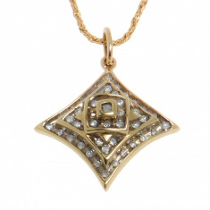 Pandantiv din aur galben 14K, moodel geometric, ornamentat cu diamante, PAU10