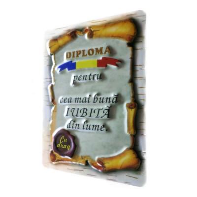 """DIPLOMA MAGNET """"CEA MAI BUNA IUBITA DIN LUME"""" foto"""