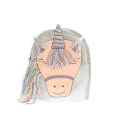 Rucsac argintiu, unicorn