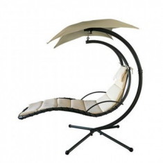 Sezlong leagan pentru gradina cu umbrella Strend Pro Monaco, bej, 200x116x205 cm