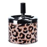 Scrumiera Metalica cu imprimeu Leopard cu Buton Negru si capac Argintiu si disc Rotativ dimensiune 9.5x8 cm