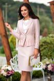 Compleu dama elegant roz pudra cu fusta si sacou