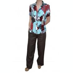 Pantalon din in, masura mare, de culoare maro, croiala lejera