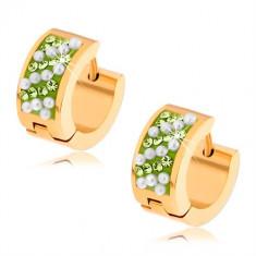 Cercei aurii din oţel, ştrasuri verzi, biluţe albe