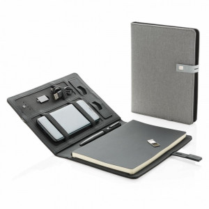 Agenda cu Powerbank 3000 mAh, stand telefon, memorie usb 16 GB, XD by AleXer, KO, poliester, negru, breloc inclus