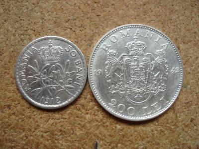 ROMANIA - LOT 50 BANI 1912 , CAROL I + 200 LEI 1942 , MIHAI I , L7.46 foto