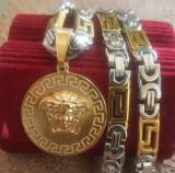 Lant +medalion  INOX placat model MEDUSA