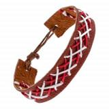 Brățară din piele maro - șnururi cusute