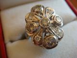 Inel Art Deco aur alb 14K-585, decorat cu 9 diamante, lucrat manual, GEMSTONES