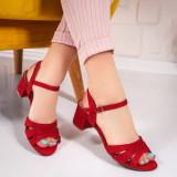 Sandale cu toc gros dama textil rosii Zibby -rl