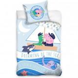 Set lenjerie pat copii Peppa Pig Dreaming of the Sea 100x135 + 40x60 SunCity, Albastru