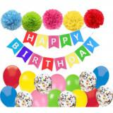 Set 21 baloane / accesorii pentru petrecere aniversare HAPPY BIRTHDAY, Oem