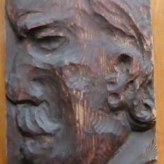 Autoportret ; Sculptura in lemn de sculptorul Ioan H. Sarghie din Bucovina ,1957