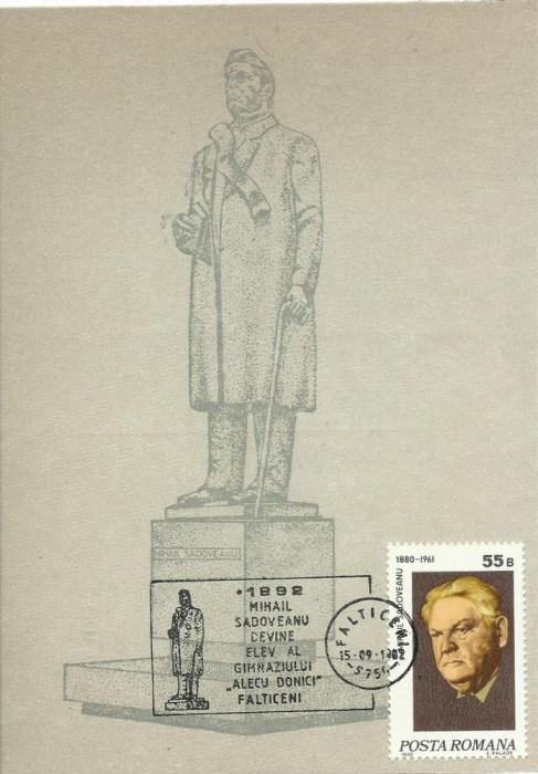 TSV* - MAXIMA STATUIA MIHAIL SADOVEANU FALTICENI, sculptor ION IRIMESCU 1982