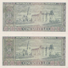 ROMANIA RSR 2 X 50 lei 1966 UNC CONSECUTIVE