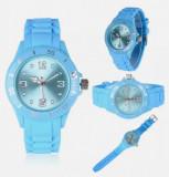 Ceas unisex, mecanism quartz, curea silicon, bleu