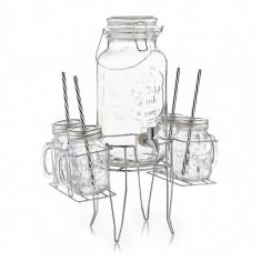 Set dispenser si pahare pentru limonada, cu suport metalic, 6 piese