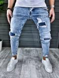 Blugi barbati albastri slimfit - COLECTIE NOUA - 345