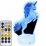 Lampa de veghe 3D LED cu telecomanda Unicorn, 7 culori, 22cm