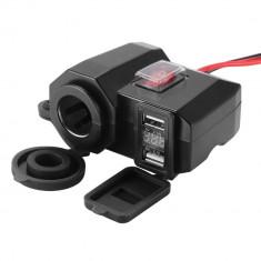 Priza USB x 2, bricheta x 1 si Voltmetru digital moto, tip II, led rosu, negru