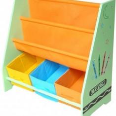 Organizator carti si jucarii Copii cu cadru din lemn Green Crayon