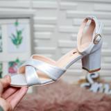 Sandale Manasvi argintii cu toc gros -rl
