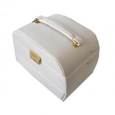 Caseta eleganta de bijuterii din piele ecologica, imprimeu crocodil, culoare alb