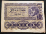 Bancnota ISTORICA 10 COROANE - AUSTRO-UNGARIA (AUSTRIA), anul 1922   *cod 640 C