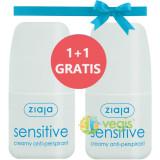 Antiperspirant Roll-On Sensitive Pentru Piele Sensibila 60ml Pachet 1+1 Gratis