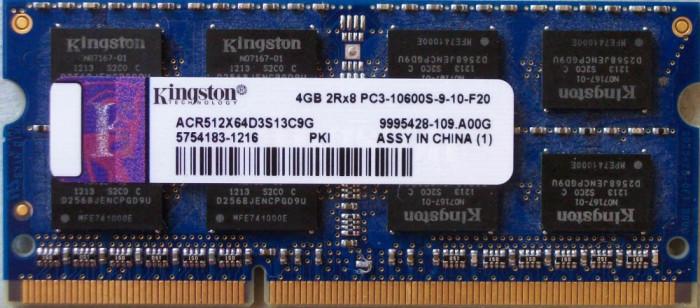 Memorii Laptop Kingston 4GB DDR3 PC3-10600S 1333Mhz