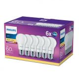 Set 6 becuri LED E27, 8W (60W), 806 lm, lumina calda, Philips